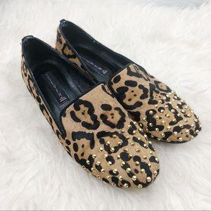 STEVEN Leopard Calfhair Studded Loafer
